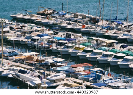 Colorful boats docked in the Old Port of Marseilles (France). - stock photo