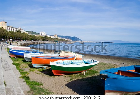 Colorful boats on Salerno Bay - stock photo