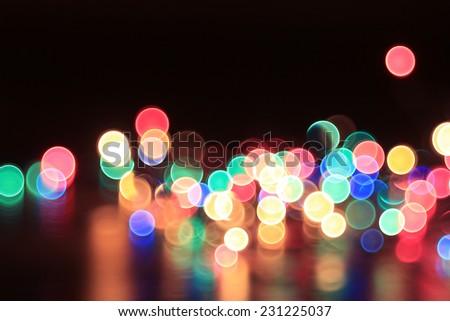 colorful bokeh Christmas garland Christmas lights - stock photo