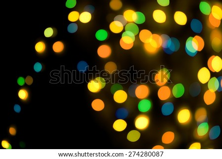 Colorful Bokeh Effect with Horizontall Frame Blue Yellow Green  - stock photo