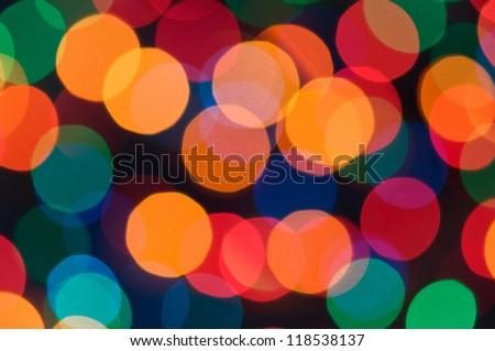 Colorful bokeh of christmas lights - stock photo