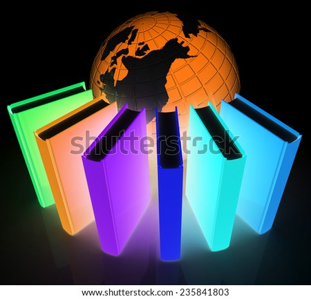 Colorful books and earth on a black background - stock photo