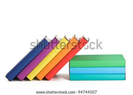 Colorful books and white background. - stock photo