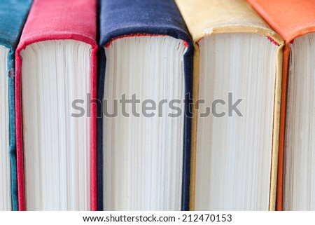 Colorful books. Close-up. Soft focus. Spine book. - stock photo
