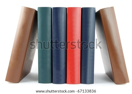 colorful books in a row - stock photo