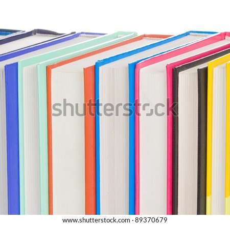 colorful books isolated on white background - stock photo