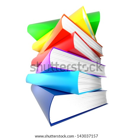 colorful books. isolated on white. no shadows. - stock photo