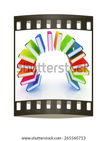 Colorful books like the rainbow on a white background. The film strip - stock photo