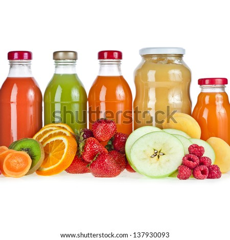 Colorful Bottles juice and puree with fresh berries and fruits close up  isolated on white background - stock photo
