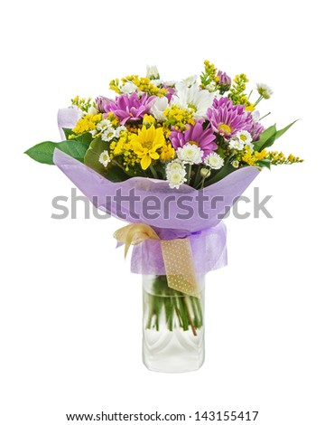 Colorful bouquet from gerberas in vase isolated on white background. - stock photo