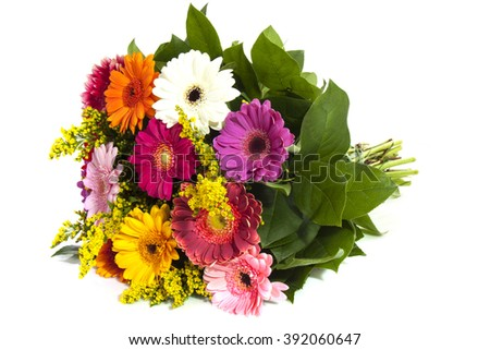 Colorful bouquet  isolated over white - stock photo