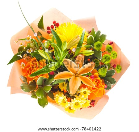 colorful bouquet of flowers isolated on white background - stock photo