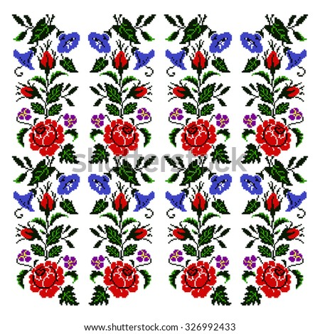 Colorful  bouquet of flowers (roses, bellflowers and pansies) using traditional Ukrainian embroidery elements. Seamless pattern. Can be used as pixel-art.  - stock photo