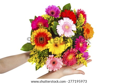 Colorful bouquet with gerbera's in child hands - stock photo