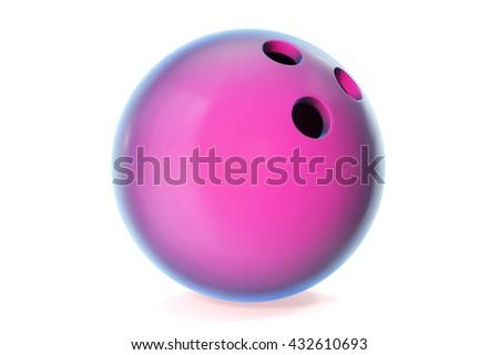 Colorful bowling ball isolated on white background. 3d illustration - stock photo