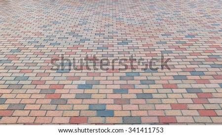 Colorful Brick Stone Street Road. Sidewalk, Pavement Texture Background - stock photo