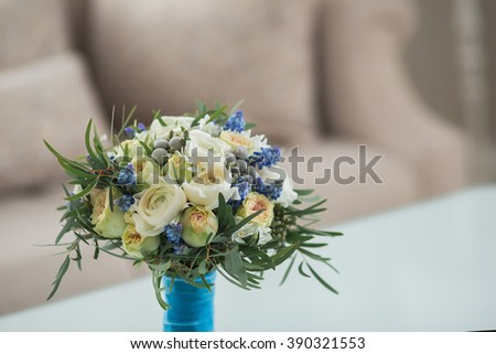 Colorful bridal beautiful bouquet of different flowers - stock photo