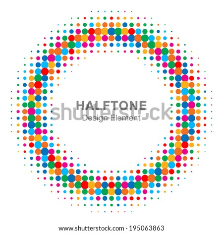 Colorful Bright Abstract Halftone Design Element, raster logo illustration  - stock photo