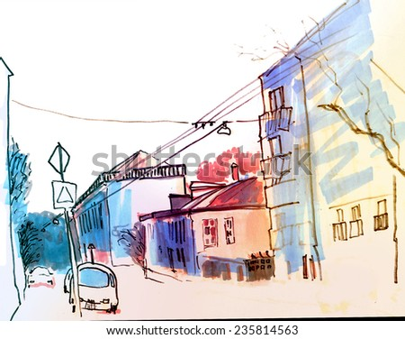 Colorful bright marker perspective street sketch of old Moscow area with road, car, trolley ways and trees - stock photo