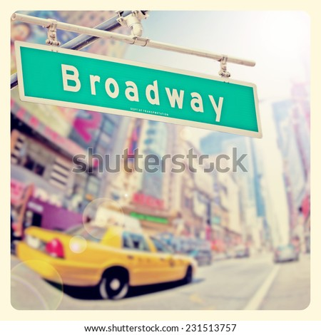 Colorful Broadway sign over Times Square background with Instagram effect filter - stock photo