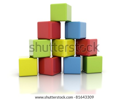 Colorful building blocks stacked as pyramid. Isolated on white - stock photo
