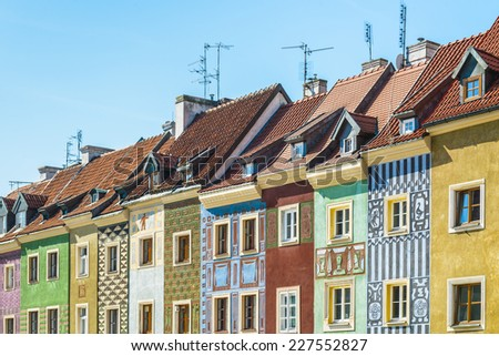Colorful building facades in Old Town Market Square of Poznan, Poland. - stock photo