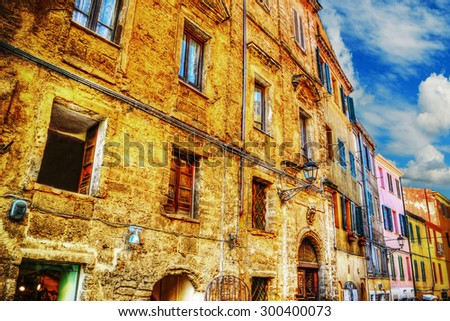 colorful buildings in Alghero downtown, Italy - stock photo