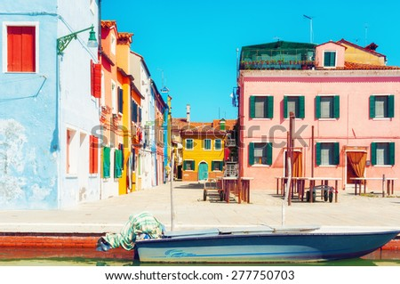 Colorful buildings in Burano, Italy. - stock photo