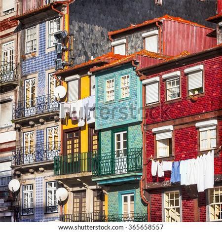 colorful buildings of Porto. Portugal - stock photo