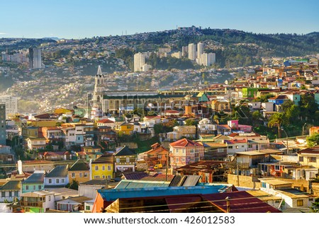 Colorful buildings of the UNESCO World Heritage city of Valparaiso, Chile - stock photo