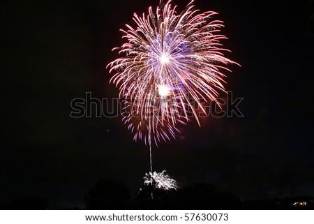 colorful burst of fireworks - stock photo