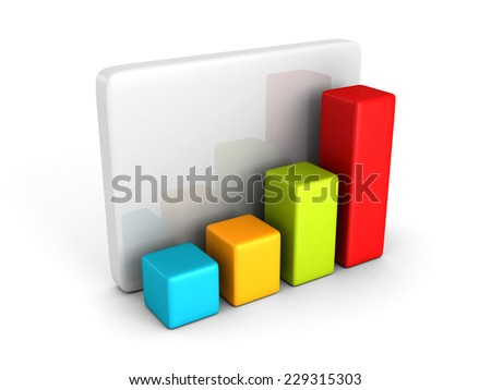 colorful business bar chart graph diagram on white. 3d render illustration - stock photo