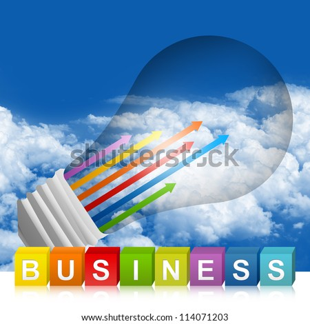 Colorful Business Cube Box And Colorful Moving Up Arrow Inside The Light Bulb For Business Concept In Blue Sky Background - stock photo