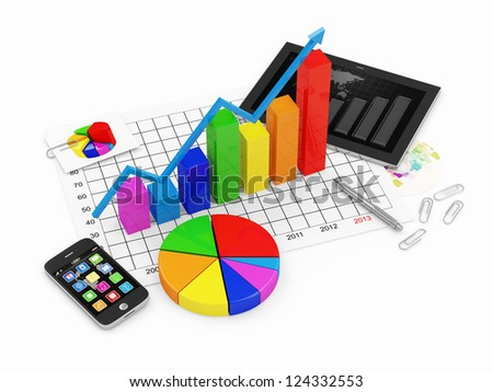 Colorful Business Graph with Pie Chart, Tablet PC and Touchscreen Smartphone isolated on white background - stock photo