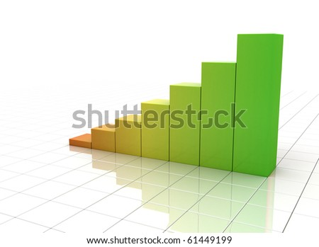 Colorful business graph with reflective grid floor - stock photo