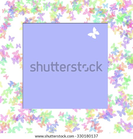 colorful butterflies scattered on white with blank center illustration - stock photo