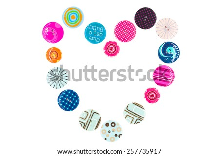 Colorful buttons as heart shape on white background - stock photo