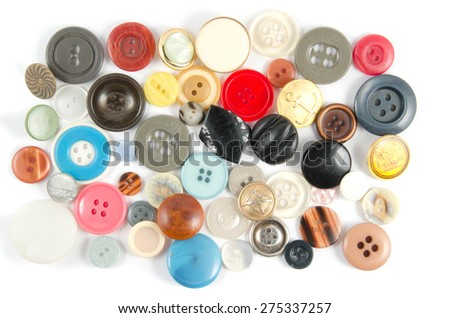 Colorful buttons in white background - stock photo