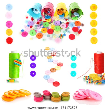 Colorful buttons isolated on white - stock photo