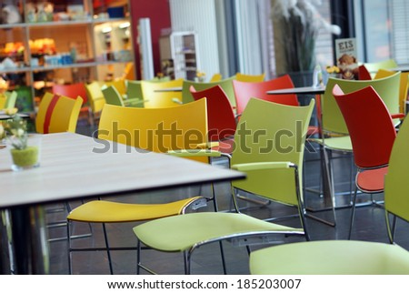 colorful cafe - stock photo