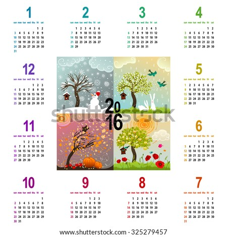 colorful 2016 calendar - week starts with sunday - with four seasons illustration featuring a tree, birdhouse, birds, pumpkins and snowman - stock photo