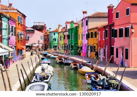 Colorful canal scene in Burano, Venice, Italy - stock photo