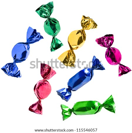 colorful candies collection  set falling  isolated on white background - stock photo