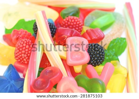 colorful candies,jelly, candy, white, isolated, background, sweet, gummy, color, colorful, food, fruit, snack, red, yellow, delicious, dessert, sugar, texture, green, gelatin, holiday, assortment, - stock photo