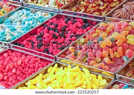 Colorful candies on a market - stock photo