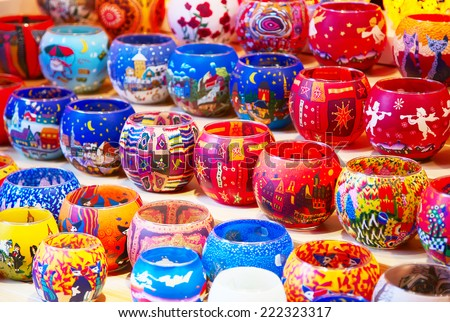 Colorful candlelights on the Christmas market in Strasbourg - stock photo