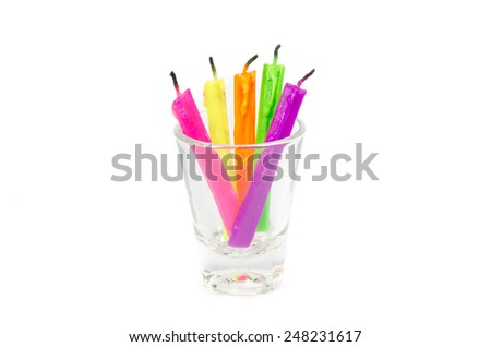 colorful candles isolated on white - stock photo
