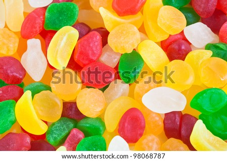 Colorful candy assortment as background - stock photo