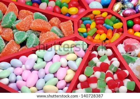 colorful candy in tray - stock photo