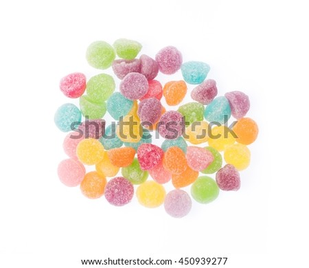 colorful candy, jellys sweet isolated on white background - stock photo